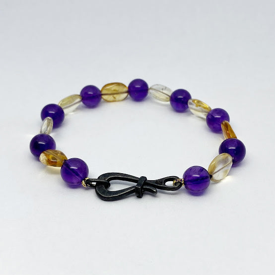 Oxidized Silver Amethyst and Citrine Beads Bracelet - eklektic jewelry studio