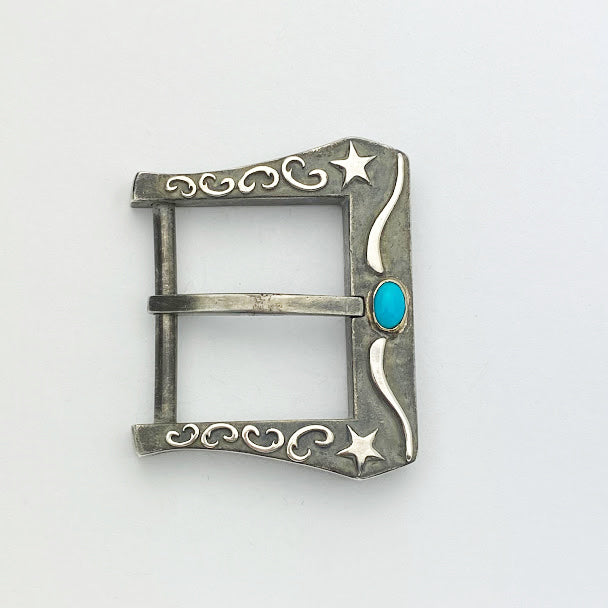 Oxidized Silver Belt Buckle with Round Turquoise - eklektic jewelry studio