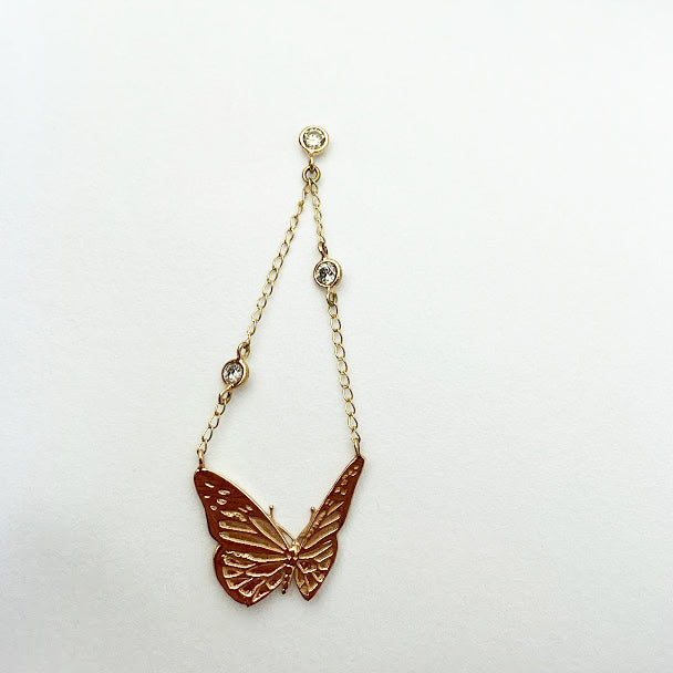 14ky Monarch Butterfly Earrings with double chain - eklektic jewelry studio