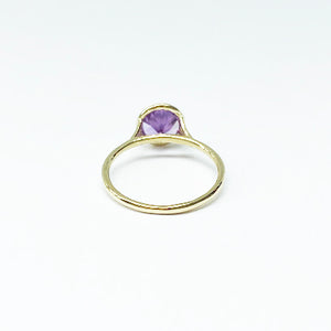 18ky Color Change Synthetic Sapphire Bezel Ring 7mm - eklektic jewelry studio