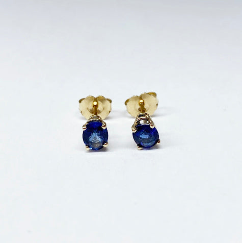 14ky Oval Blue Sapphire Stud Earrings - eklektic jewelry studio