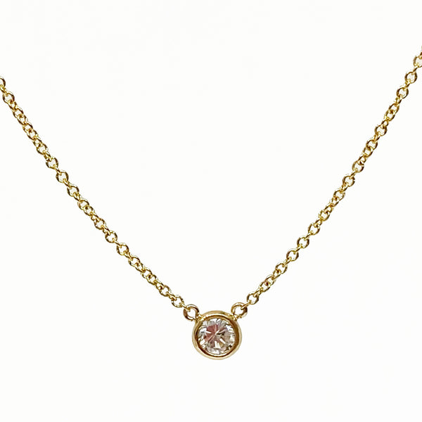 14ky Solitaire Diamond Necklace 0.19ct - eklektic jewelry studio