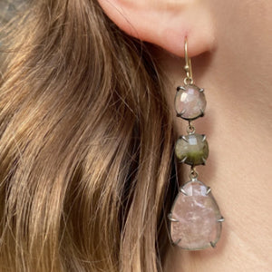 Pink and Green Tourmaline Earrings by Amelia Perry - eklektic jewelry studio