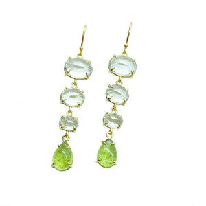 14ky White Topaz and Peridot Earrings by Amelia Perry - eklektic jewelry studio