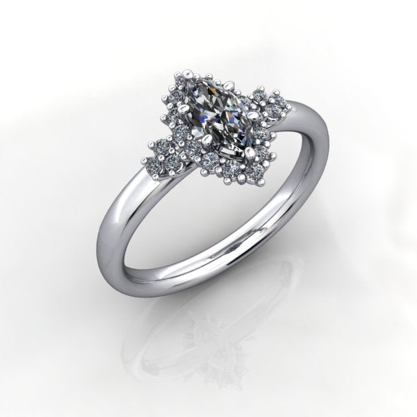 Marquise Diamond Halo Ring - eklektic jewelry studio