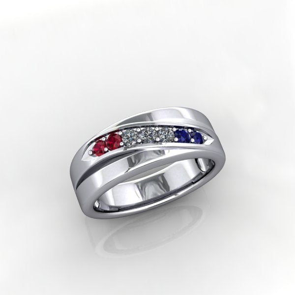 Memorial Day Ring with Tricolore Gems - eklektic jewelry studio