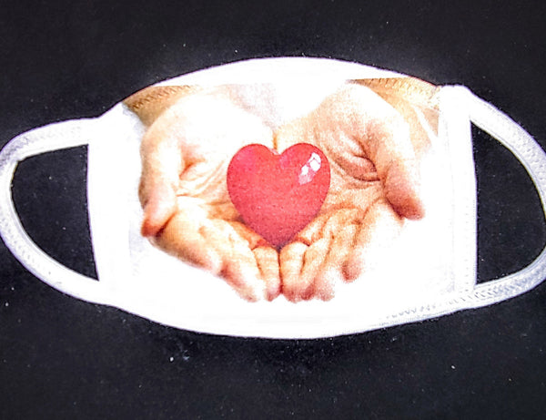 Hands with Heart Custom Printed Face Masks - Ultra Fast Tshirts and more