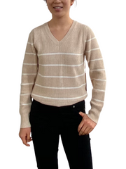 Petite V Neck Stripe Pullover Sweater