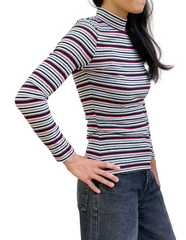 Petite Principle Stripe Mock Neck Top