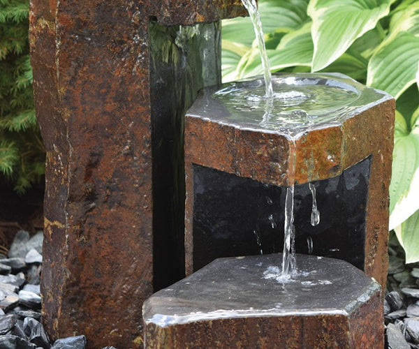 Keyed Spillway Natural Stone Basalt Fountain - Smith Creek Lake and Pond