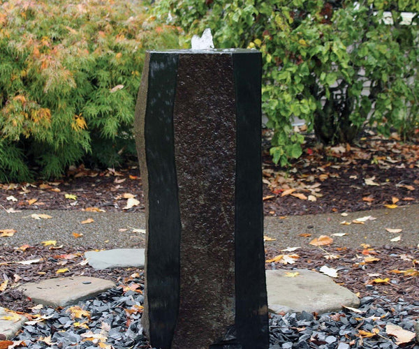 Polished Side Basalt Fountain - 39 inch Tall 14-16 Inch Diameter - Smith Creek Lake and Pond
