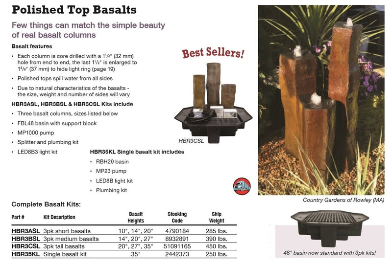 Polished Top Basalts Fountain Kits