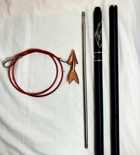 "Load image into Gallery viewer, 2-pc 8-ft Money-shot Commercial Harpoon 1"" Plain Solid 6061T Hard Anodized Aluminum Handle, 18"" Stainless Steel Dart Shaft Bronze Lily Dart on Stainless Steel Dart Rigging, No Shackle, Carrying Bag"