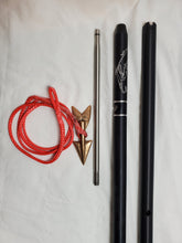 "Load image into Gallery viewer, Skurge of the Sea 2-pc 8-ft Money-shot Commercial Harpoon 1"" Plain Solid 6061T Hard Anodized Aluminum Handle, 12"" Stainless Steel Dart Shaft Bronze Lily Dart on Dyneema Rope Dart Rigging, No Shackle, Carrying Bag"