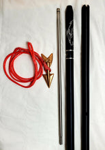 "Load image into Gallery viewer, Skurge of the Sea 2-pc 8-ft Money-shot Commercial Harpoon  1"" Plain Solid 6061T Hard Anodized Aluminum Handle, 18"" Stainless Steel Dart Shaft Bronze Lily Dart on Dyneema Rope Dart Rigging, No Shackle, Carrying Bag"