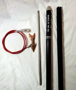 "2-pc 8-ft Money-shot Deluxe Harpoon 1.25"" Knurled Solid 6061T Hard Anodized Aluminum Handle, 18"" Stainless Steel Dart Shaft, Bronze Lily Dart on Stainless Steel Dart Rigging, No Shackle, Carrying Bag"