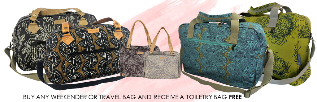 Printed overnight and weekender travel bags and duffels