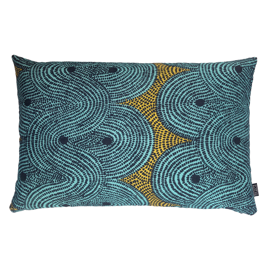 DESIGN TEAM | Cushion Cover - Crop Fields Aqua (45cm x 70cm)
