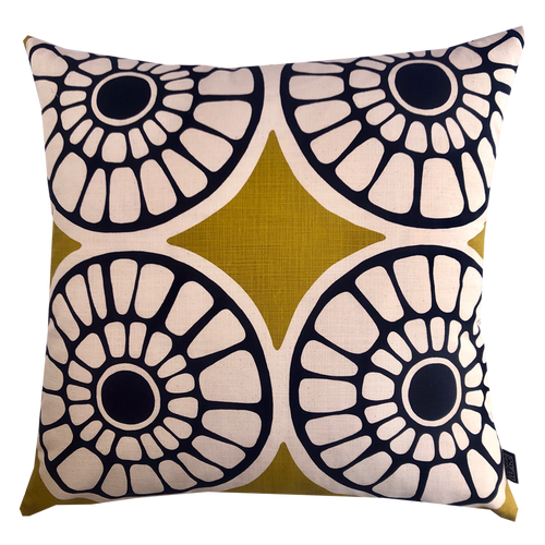 DESIGN TEAM | Cushion Cover - Mad Fruit Lime/ Prime Navy (60cmx60cm)