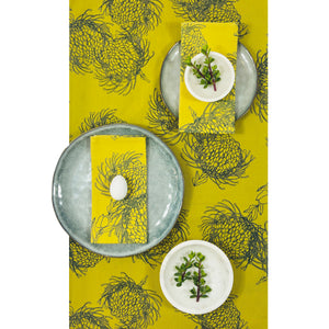 Table Runner - Garden Bloom  - Ocean on Lime
