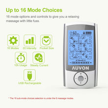 "Load image into Gallery viewer, AUVON TENS Unit 16 Modes with 16pcs 2""x2"" Pads - AUVON"