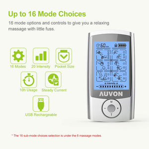 "AUVON TENS Unit 16 Modes with 16pcs 2""x2"" Pads - AUVON"