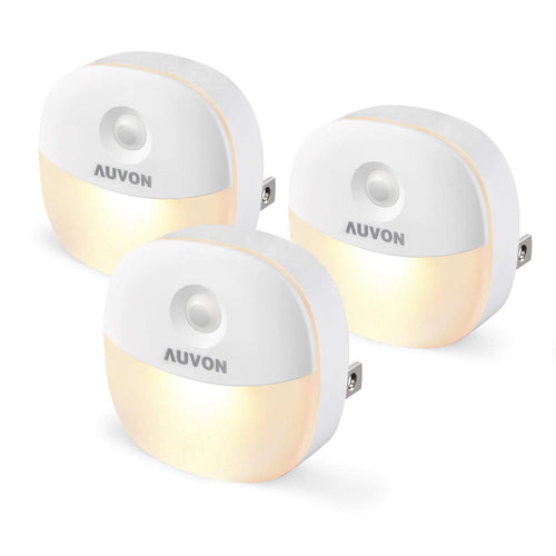 AUVON Plug-in LED Night Light, Mini Warm White LED Plug in Nightlight with Automatic Dusk to Dawn Sensor and Adjustable Brightness for Bedroom, Bathroom, Kitchen, Hallway, Stairs (3 Pack) - AUVON