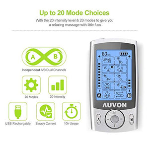 "AUVON Dual Channel TENS Unit 20 Modes with 16pcs 2"" and 8pcs 2""x4"" Pads - AUVON"