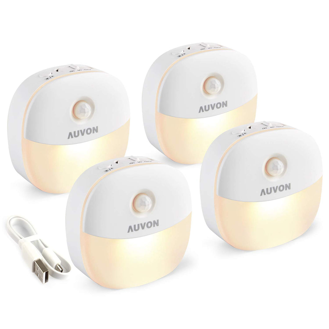 AUVON Rechargeable Motion Sensor Night Light, Warm White LED Stick-On Closet Light with Dusk to Dawn Sensor, Adjustable Brightness for Wall, Stairs, Cabinet, Hallway (4 Pack) - AUVON