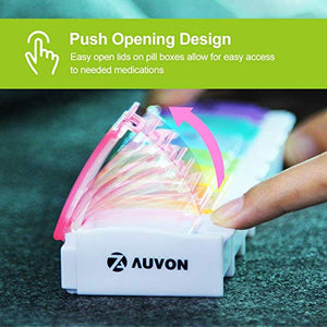AUVON iMedassist Weekly Pill Organizer with Spring Assisted Open Design - AUVON