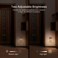 Load image into Gallery viewer, AUVON Plug-in LED Night Light, Mini Warm White LED Plug in Nightlight with Automatic Dusk to Dawn Sensor and Adjustable Brightness for Bedroom, Bathroom, Kitchen, Hallway, Stairs (3 Pack) - AUVON