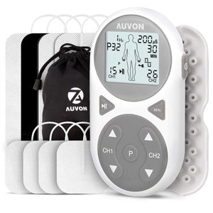 AUVON 32 Modes TENS EMS Unit (TENS+EMS+Massage) with 8pcs pads - AUVON