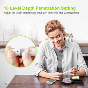 AUVON Lancing Device with Less Pain Design, Blood Sample Pen with 10 Adjustable Depths Setting for Blood Sugar Monitoring and Glucose Testing (Compatible for Most Round and Square Lancets) - AUVON