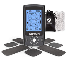 "Load image into Gallery viewer, AUVON Dual Channel TENS Unit Muscle Stimulator Machine with 20 Modes, 2"" and 2""x4"" TENS Unit Electrode Pads (Black) - AUVON"