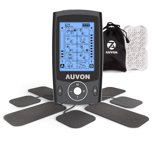AUVON Dual Channel TENS Unit Muscle Stimulator Machine with 20 Modes, 2