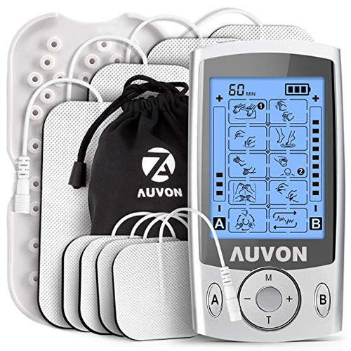 AUVON Dual Channel TENS Unit 20 Modes with 4pcs 2