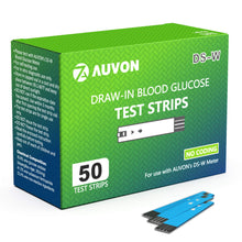 Load image into Gallery viewer, AUVON Blood Glucose Test Strips (50 Count) for use with AUVON DS-W Diabetes Sugar Testing Meter (No Coding Required, 2 Box of 25 Each)