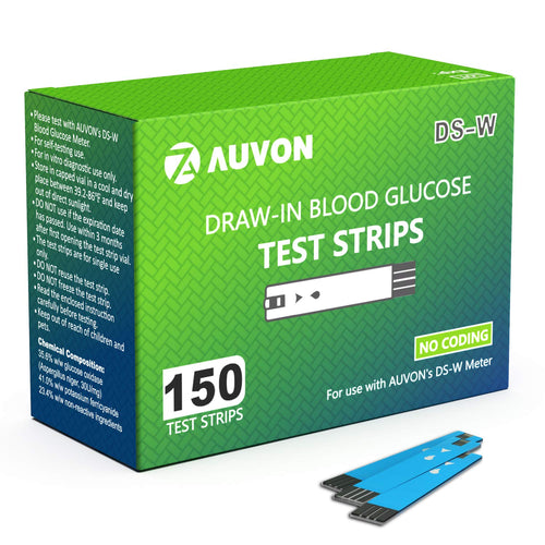 AUVON Blood Glucose Test Strips (150 Count) for use with AUVON DS-W Diabetes Sugar Testing Meter (No Coding Required, 2 Box of 75 Each) - AUVON