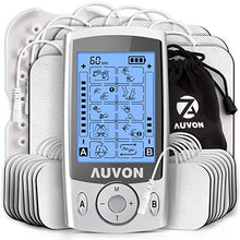 "Load image into Gallery viewer, AUVON Dual Channel TENS Unit 20 Modes with 16pcs 2"" and 8pcs 2""x4"" Pads"