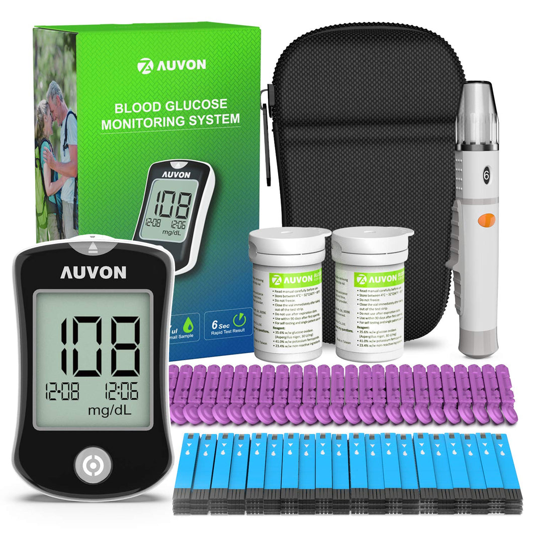 AUVON DS-W Blood Sugar Kit with 150 Test Strips, 25 30G Lancets, Lancing Device