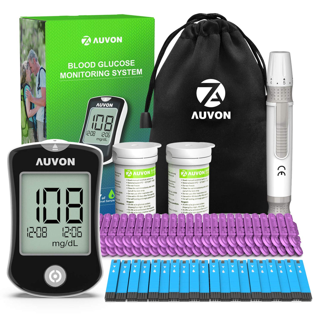 AUVON DS-W Blood Sugar Test Kit with 50 Test Strips, 50 30G Lancets, Lancing Device and Hard Case