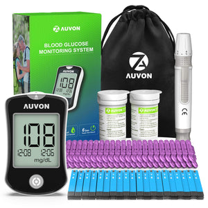 AUVON DS-W Blood Sugar Test Kit (100 Test Strips, 100 30G Lancets), High-Tech Diabetes Blood Glucose Meter - AUVON