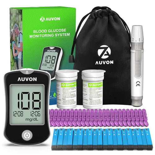 AUVON DS-W Blood Sugar Test Kit with 100 Test Strips, 25 30G Lancets, Lancing Device and Hard Case