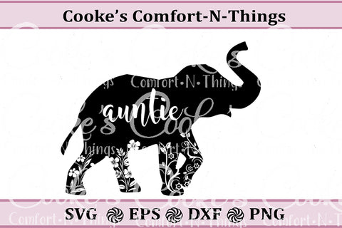 Auntie Elephant SVG,  Instant Download