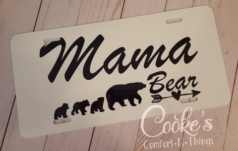 Mama Bear License Plate, bear license plate, Mom bear license plate