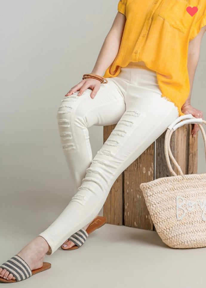 High Waist Distressed Jegging Cream Color