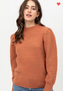 Love Tree Yarn Puff Sleeve Sweater