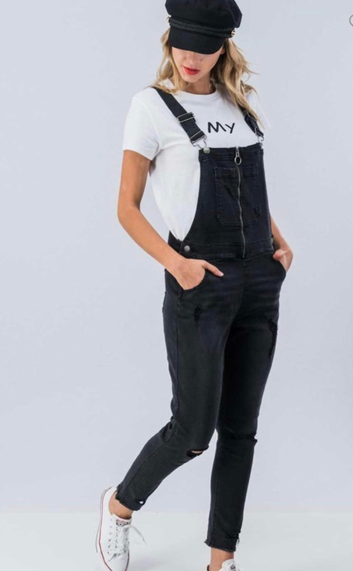 Front Zip Black Denim Bibs: Distressed