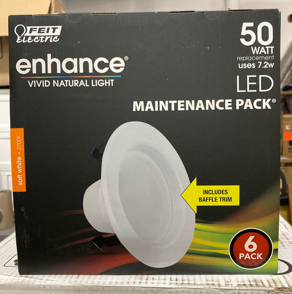 Feit Electric Enhance Vivid Natural Light Maintenance Pack 50 Watt - 6 Pack