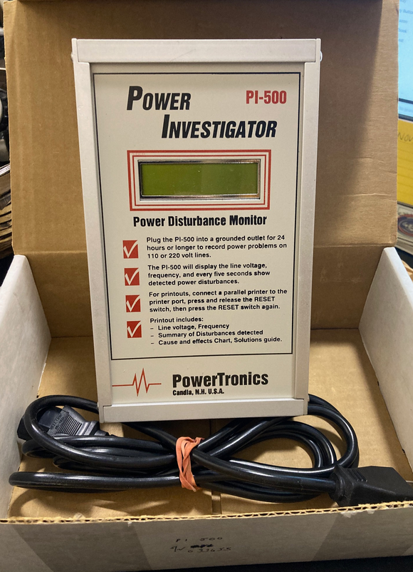 PowerTronics Power Investigator Disturbance Monitor PI-500 110/220 Volt Lines